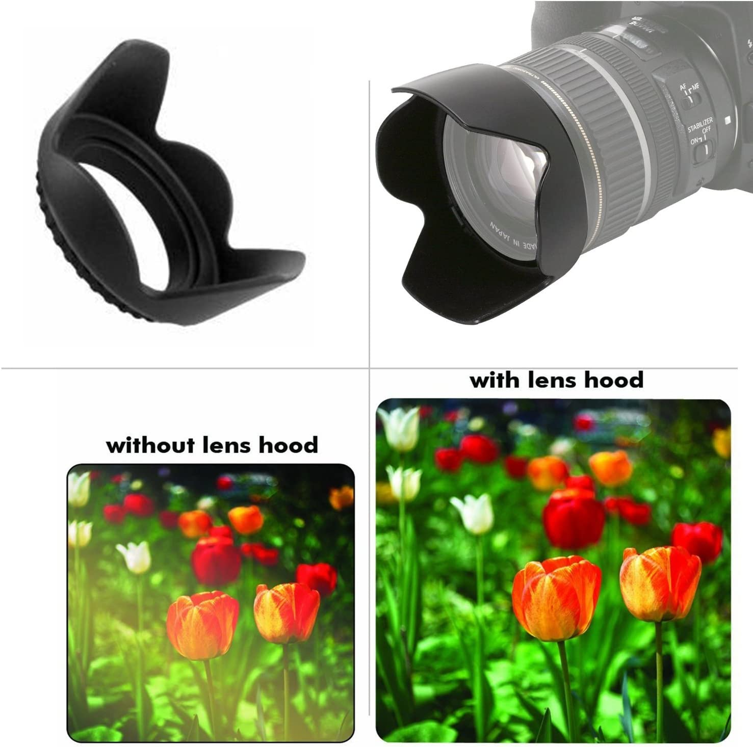 Canon EOS Rebel T7i Pro Digital Lens Hood + Nw Direct Microfiber Cleaning Cloth. Flower Design 52mm