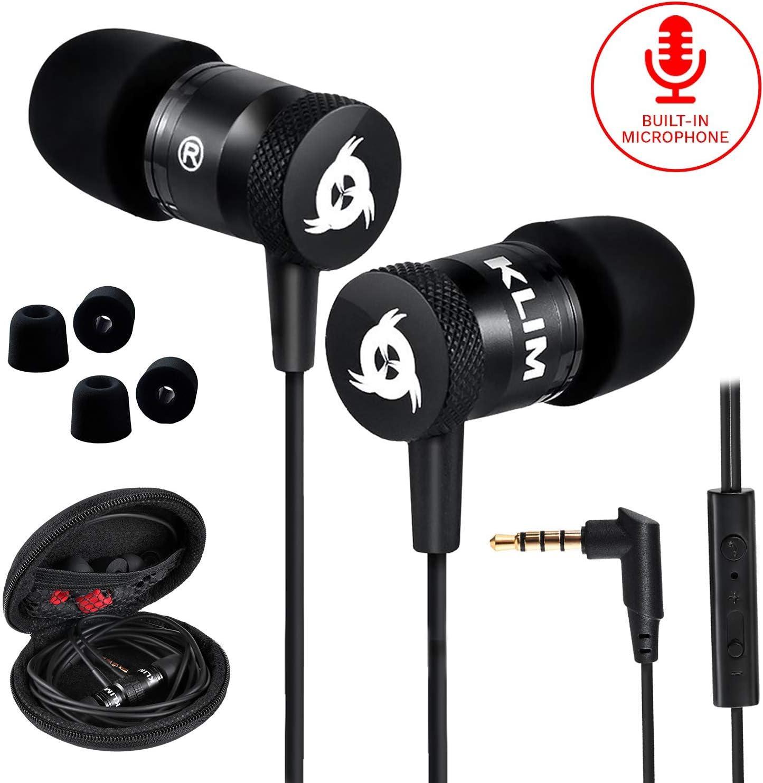 KLIM™ Fusion - Auriculares con micrófono para móvil + Garantía 5 años + Innovadora Espuma de Memoria + Jack 3,5 mm + Compatibles con Smartphone, Tablet, Consola, PC - Nueva Versión 2020 - Negro