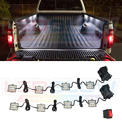 LEDGlow 8pc White Truck Bed Cargo LED Lighting Kit - Universal - Durable, Waterproof Pod Lights Mount Under The Bed Rails - Includes On/Off Toggle Power Switch: Automotive
