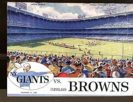 1958 New York Giants v Cleveland Browns Program 121458 Ex 36403 at