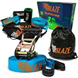 Trailblaze Slackline Kit with Tree Protectors, Ratchet Cover + Carry Bag - Perfect Slack Lines for Family Healthy Fun. Easy Setup 50 ft Slack Line Balance Strap