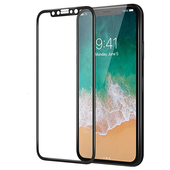 quality design aceb6 92db4 iPhone X Glass Screen Protector,Luhuanx 4D Full Coverage [9H Hardness] [HD  Clear] Tempered Glass Screen Protector Bubble-Free Anti-Scratch Protective  ...