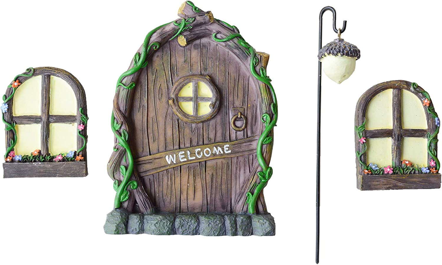 Fairy Door with Windows for Tree.Including Fairy Lantern. Could Shine at Night. Give You a Fairy Garden.Fairy Door for Wall.Fairy Door for Garden.Garden Fairy Door,Fairy Garden Doors for Trees.