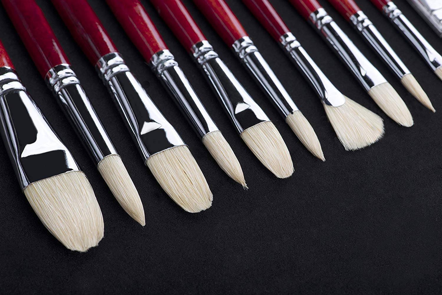 11 pcs Professional Oil /& Acrylics Artist Brushes Pure Hog Bristles Lacquered Birchwood Long Handles with a Free