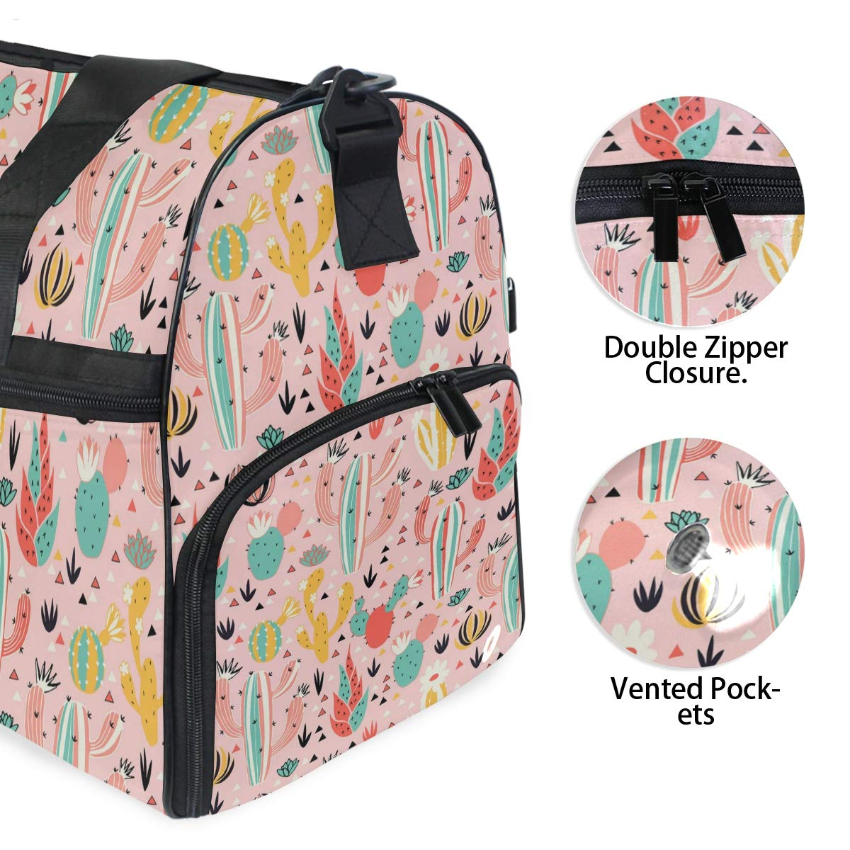 Cute Pink Cactus Flower Large Travel Duffel Bag For Women Men Overnight Weekend Lightweight Luggage Bag