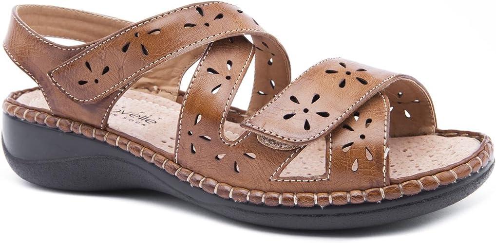 Crossover Tan Flat Sandals