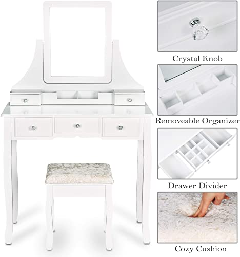 Makeup Vanity Table Set with Mirror, Drawers and Stool,Make up Table with 5 Drawers and Organizer, White