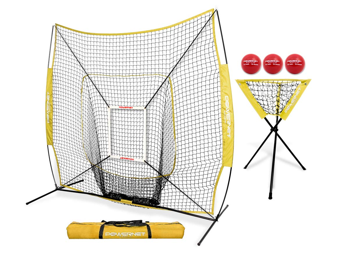 PowerNet DLX Combo 6 Piece Set for Baseball Softball (Yellow) | 7x7 Practice Net Bundle w/Strike Zone, Ball Caddy + 3 Weighted Training Balls | Team or Solo Training | Hitting & Throwing