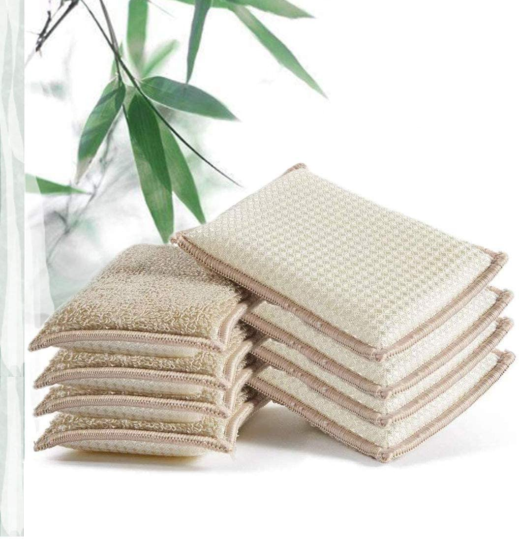 JEBBLAS Bamboo Natural Absorbent Sponges Kitchen Cleaning Sponges Reusable Dish Washing Sponges Beige (8 Pack) …
