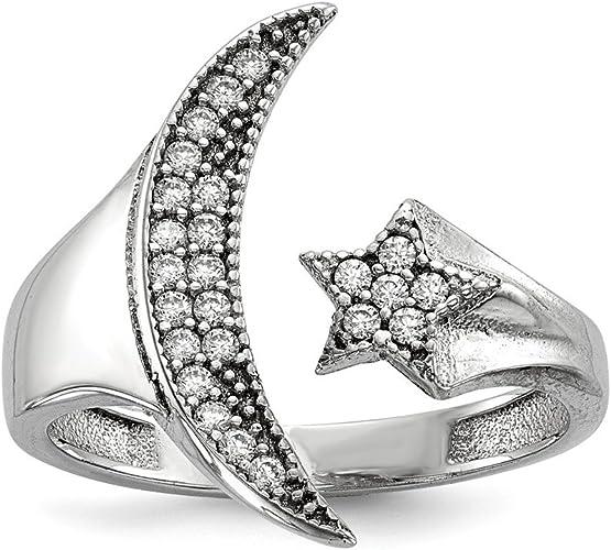 Women Fashion Jewelry 925 Sterling Silver CZ Cubic Zirconia Moon Star Necklace