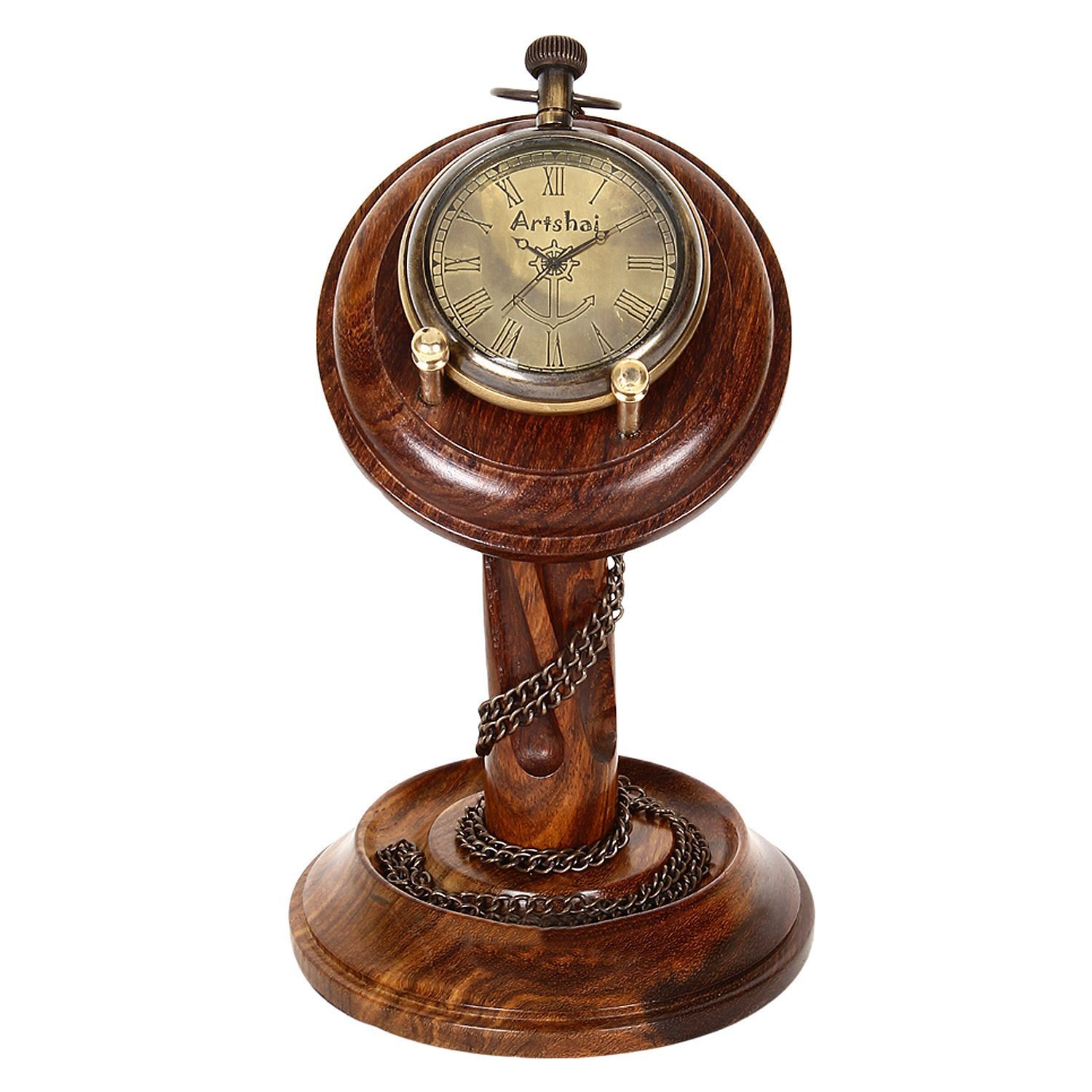 Artshai Pocket watch cum table clock with sheesham wood stand … by Artshai (Image #1)