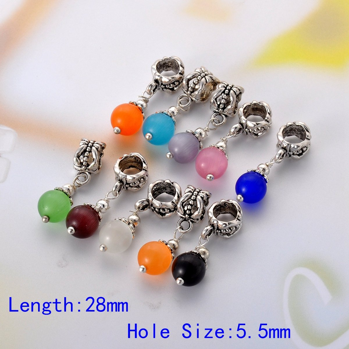 HooAMI Mixed Silver Color Dangle Beads with Birthstone for Charm Bracelet Pack of 10pcs 29mm x 10mm