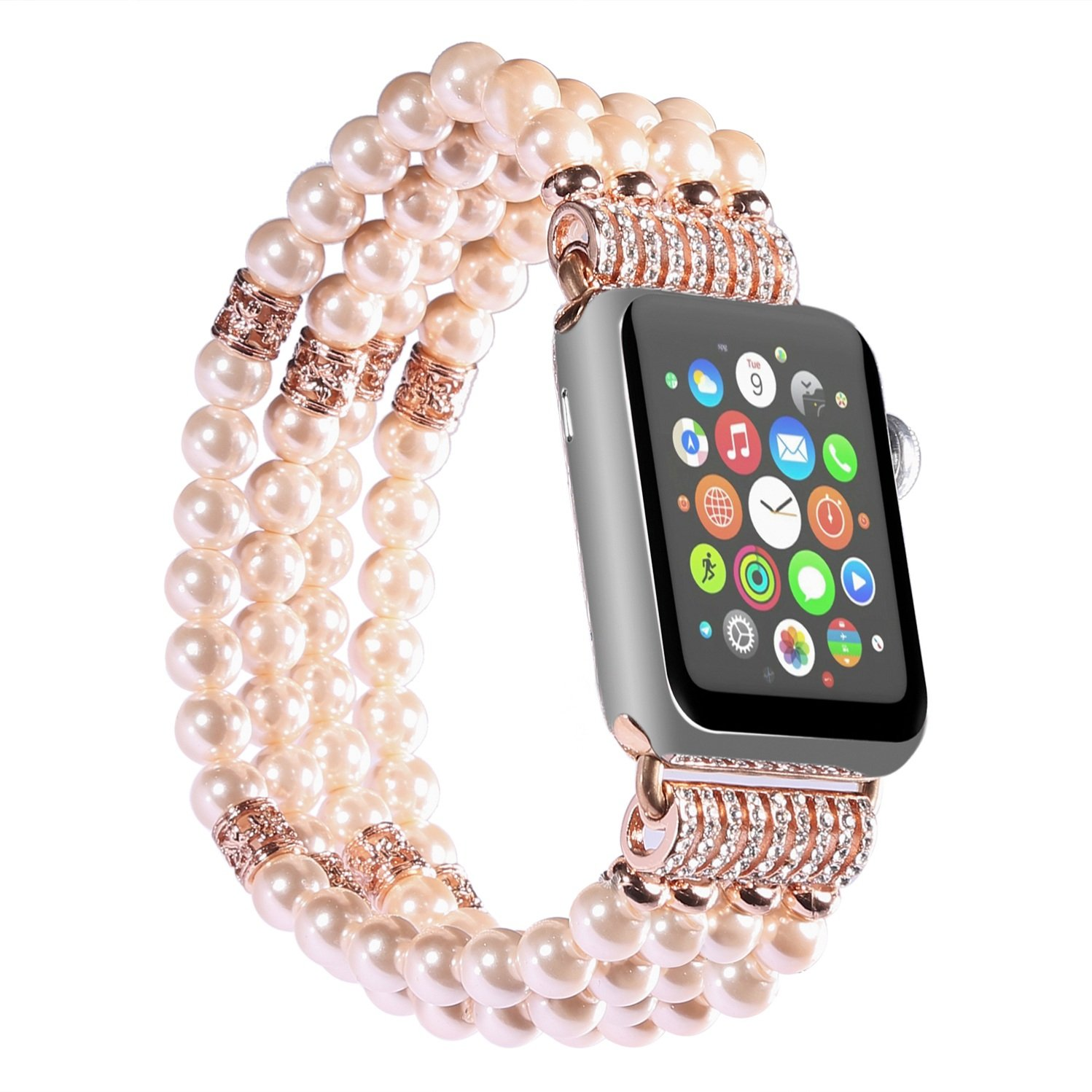Juzzhou Watch Band For Apple iWatch Replacement Bracelet Handmade Beaded Pearl Agate Pearls Jewels Elastic Stretch Wrist Strap Wriststrap Watchband With Metal Adapter For Woman Girl Rose Gold 38mm