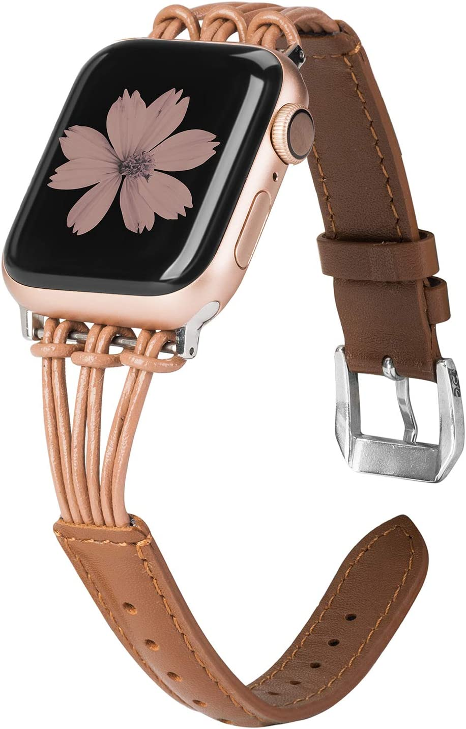 TOYOUTHS Leather Band Compatible with Apple Watch Band 38mm 40mm Rose Gold iWatch Womens Mens Strap Slim Wristband Leisure Replacement Tassel Bracelet Series 6 5 4 3 2 1 Edition