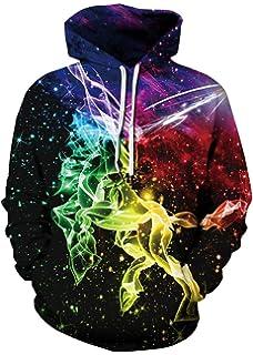EUDOLAH Herren Sweatershirts 3D Druck Langarm mit Taschen Sweatershirts mit  Aufdruck Galaxy Tier 8666c72729