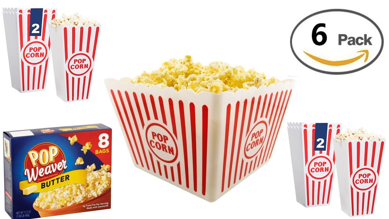 Popcorn Bucket - Plastic Popcorn Tub (6 Pcs) Take a Fun Trip to The Past With Red and White Striped Popcorn Buckets - Nostalgic Popcorn - Buttered Popcorn