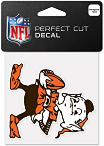 """WinCraft NFL Cleveland Browns 63042011 Perfect Cut Color Decal, 4"""" x 4"""", Black"""