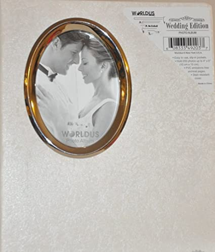 Amazoncom White Wedding Photo Album With Oval Opening On Cover