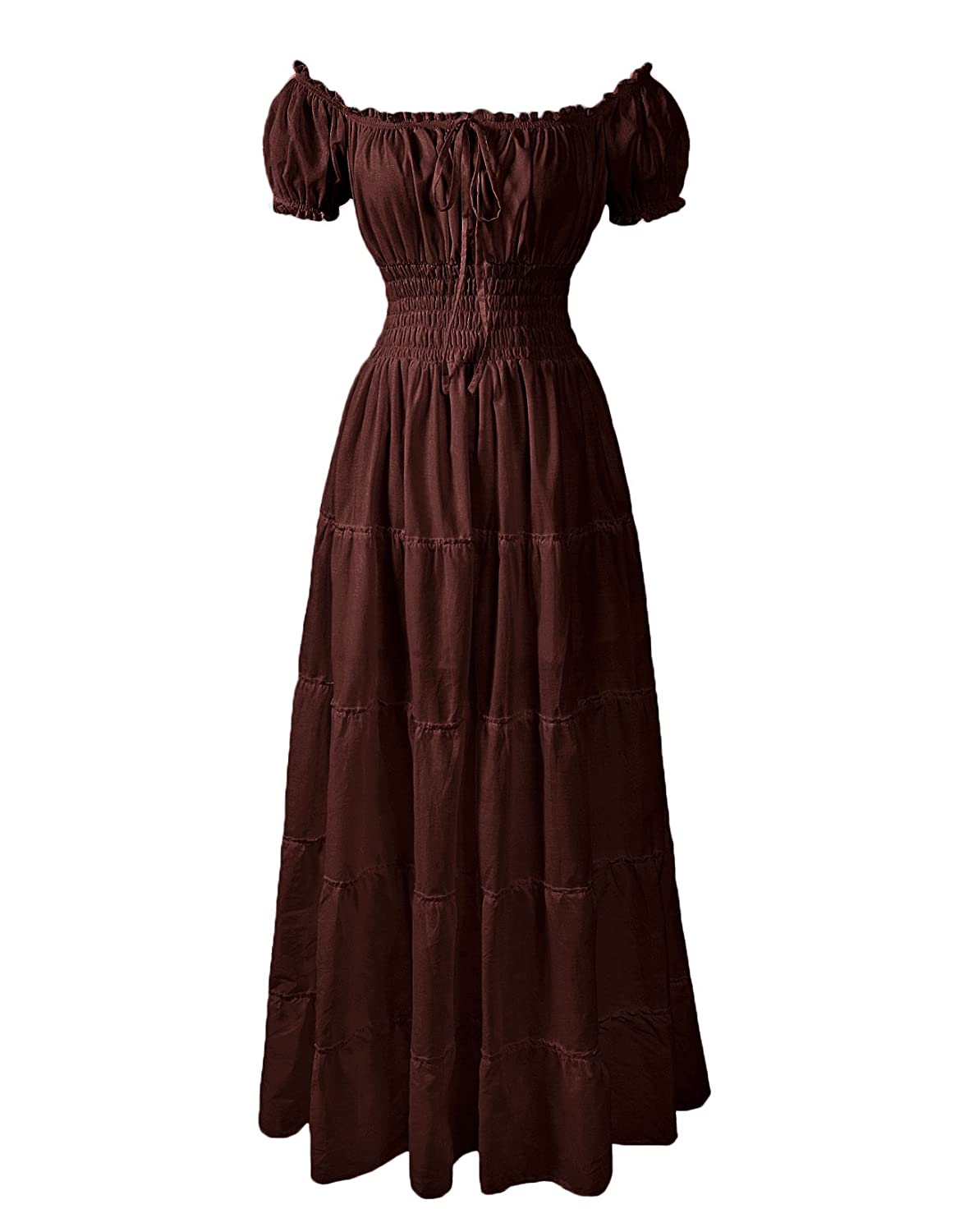 Renaissance Puff Sleeves Peasant Wench Long Brown Cotton Summer Chemise - DeluxeAdultCostumes.com