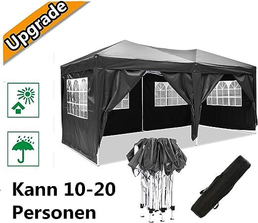 Hiriyt Plegable Carpa con Paredes 3x3/3x6m - Impermeable, con Protección Solar, Ideal para Fiestas en el Jardín - Gazebo, Cenador, Pabellón, Tienda Fiestas, Persona 10-20 (3x6m Negro): Amazon.es: Jardín