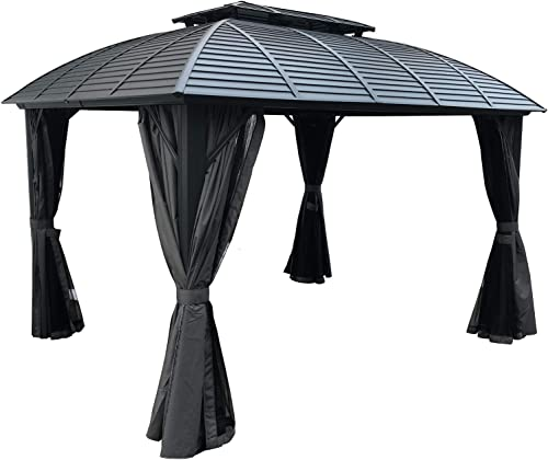 Kozyard 10ftx12ft Hardtop Aluminum Permanent Gazebo with a Mosquito Net Sidewall and Privacy Wall Odyssey 10ftx12ft