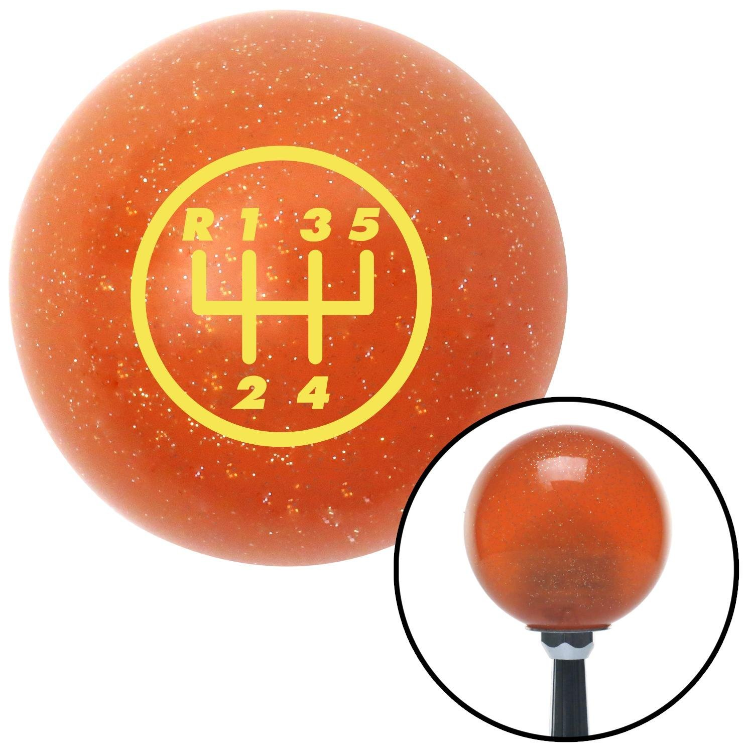 American Shifter 35766 Orange Metal Flake Shift Knob with 16mm x 1.5 Insert Yellow 5 Speed Shift Pattern - 5UR-RUL