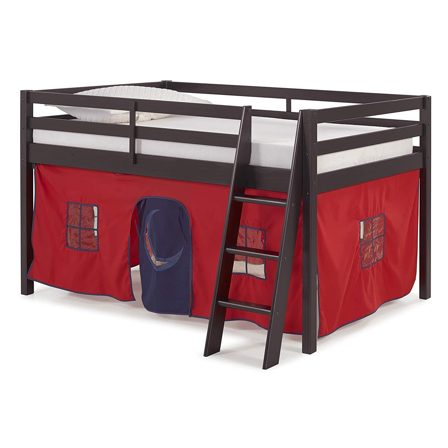 Alaterre AJRX10P0AT Roxy Wood Junior Loft Bed with Red and Blue Tent, Espresso