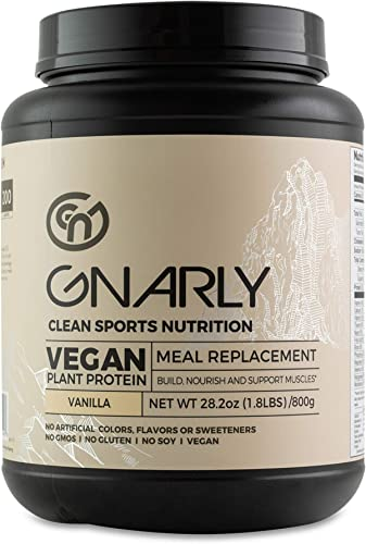 Gnarly Nutrition, Meal Replacement Vegan Protein Blend from Pea, Chia and Cranberry for Muscle Development, Vanilla, 28.2 Oz 16 Servings