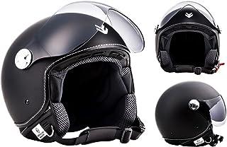 "Armor · AV-84 ""Vintage Deluxe"" · Open Face Helmet · Scooter Jet Motorbike Motorcycle Pilot Retro · ECE certified · Visor · Click-n-Secure™ Clip · Carrier Bag · XXL (63-64cm)"