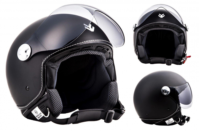 "Armor · AV-84 ""Vintage Deluxe Red"" (red) · Open Face Helmet · Jet Pilot Retro Scooter Motorcycle Motorbike · ECE certified · Visor · Click-n-Secure™ Clip · Carrier Bag · XXL (63-64cm"