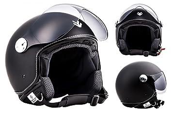 "Armor · AV-84 ""Matt Black"" (black) · Casco moto Demi Jet · Urban motocicleta Urbano Helmet Scooter Retro · ECE certificado · Visor · Click-n-Secure™ ..."