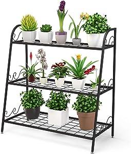 Giantex 3 Tier Metal Plant Stand, Indoor Outdoor Plant Shelf, Flower Rack Display Shelf, Flower Pots Holder with Adjustable Feet for Garden, Balcony, Living Room (3-Tier (32''x 13'' x 32''))