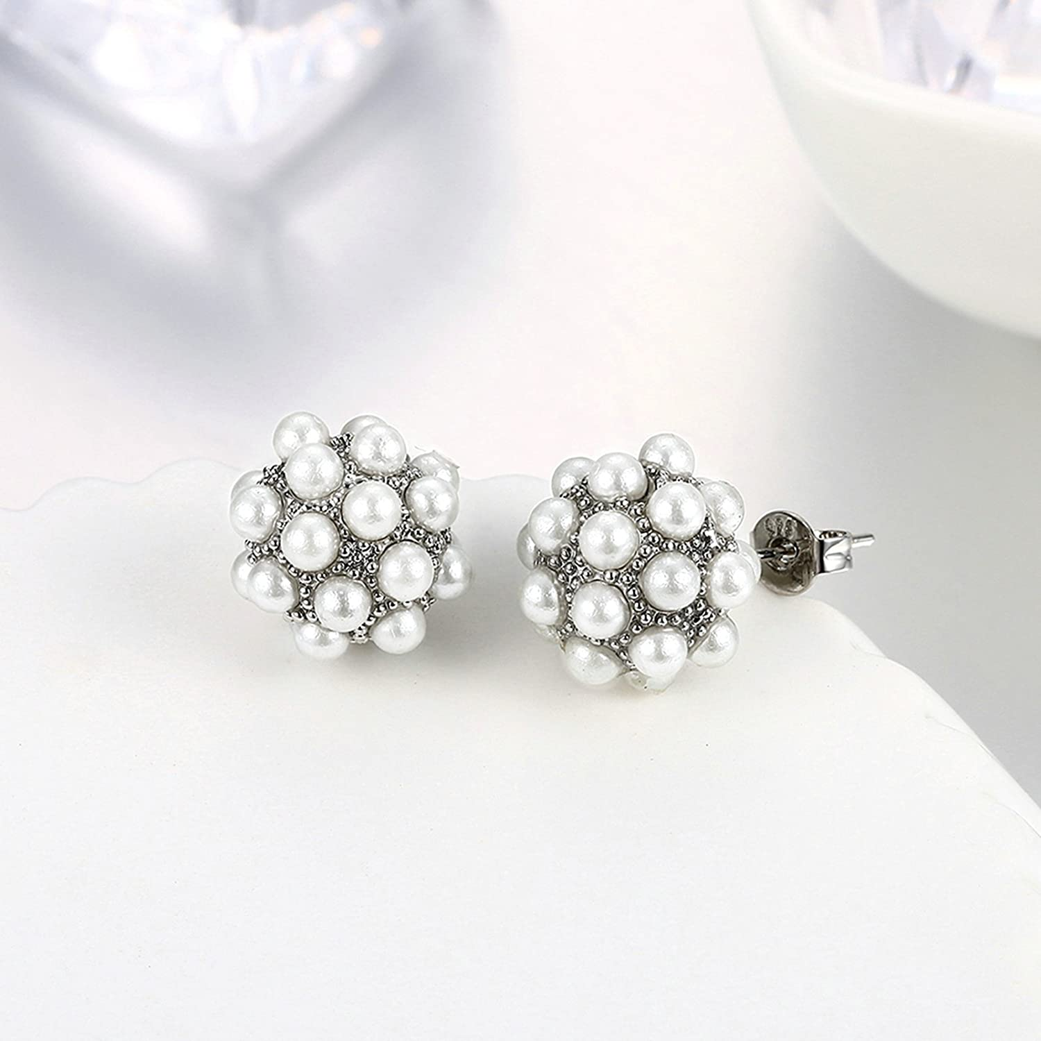 Gnzoe Jewelry 18K Silver Plated Stud Earrings Women Cluster Beads Faux Pearl Eco Friendly LSOQ8P