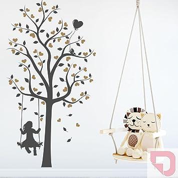 DESIGNSCAPE® Wandtattoo Baum mit Mädchen und Herzen | Wandtattoo ...
