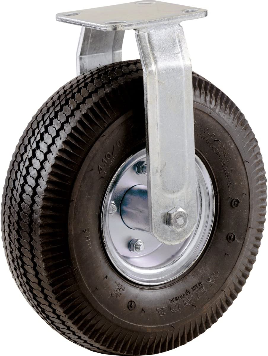 Rigid Plate Shepherd Hardware 9797 10-Inch Pneumatic Caster Wheel 5//8-Inch Bore Centered Axle Steel Hub with Ball Bearings