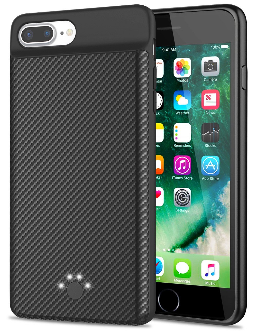 Emishine [Upgraded] iPhone 7 Plus/8 Plus Battery Case, 4000 mAh Super Thin and Lightweight Rechargeable External Battery Portable Power Charger Case for iPhone 8 Plus/7 Plus/6 Plus/6S Plus(Black)