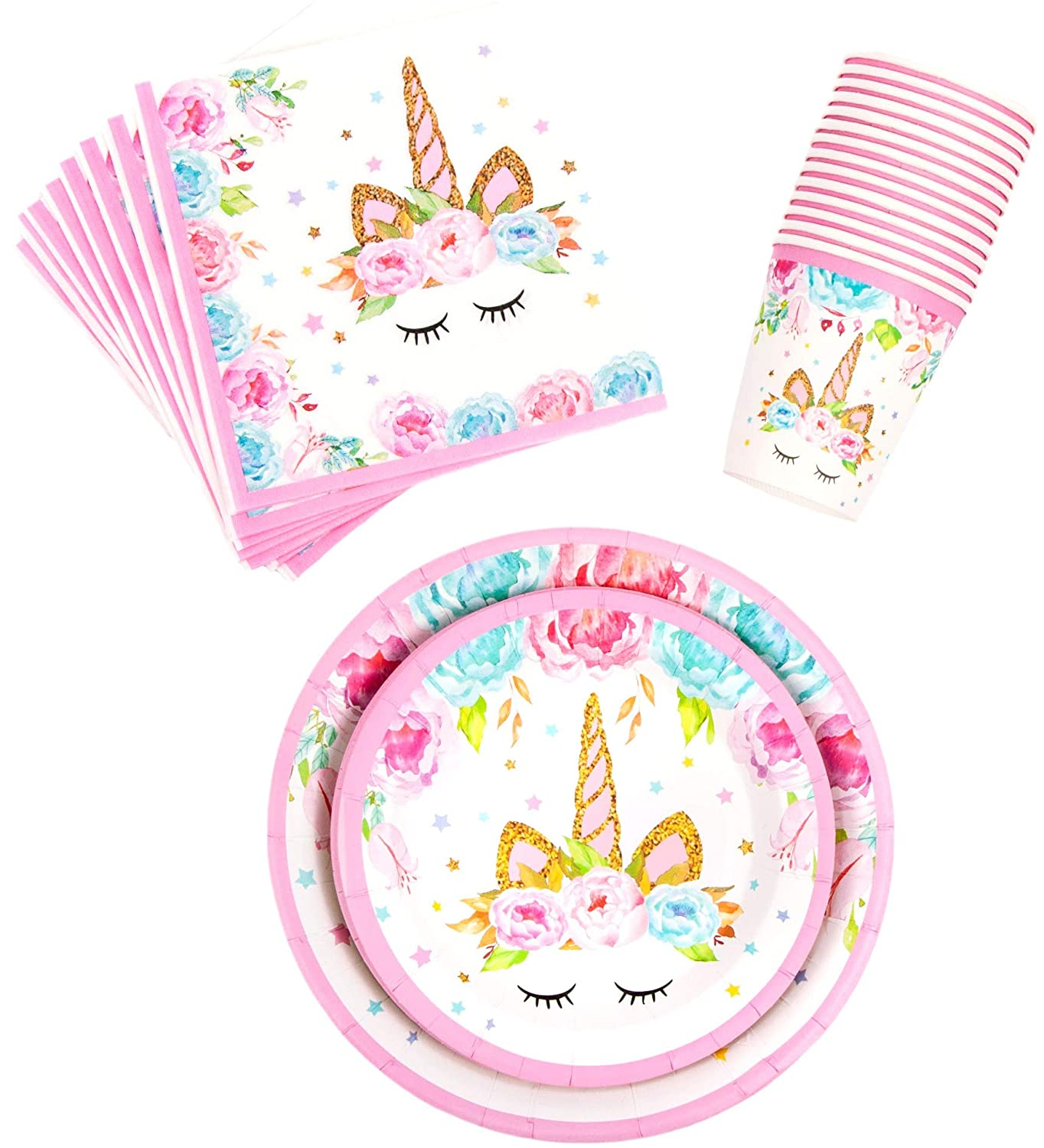 Banner Girls Birthday Decorations Set Decor Theme Magical Rainbow Princess Tableware Pack Includes: Big and Small Plates Cups Napkins BleuZoo Unicorn Party Supplies Serves 16 Forks Knives Spoons Tablecloth