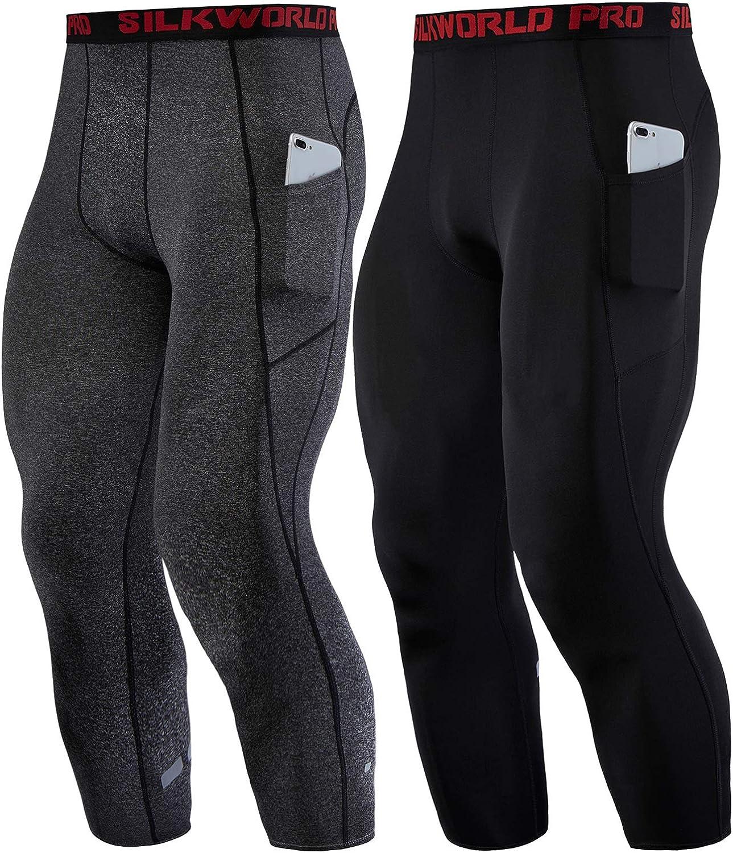 SILKWORLD Mens Compression Pants Capri Running Workout Tights Leggings with 2 Pockets