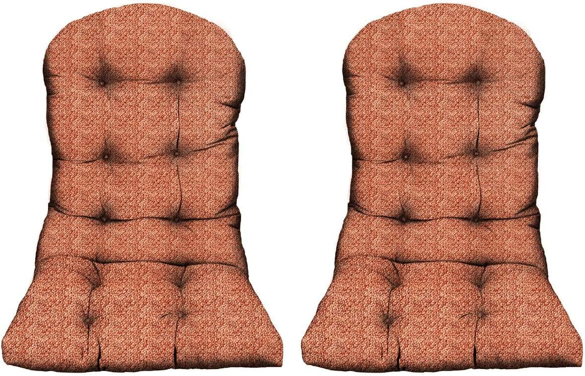 RSH DECOR – Set of 2 Indoor Outdoor Tufted Adirondack Chair Seat Cushions Made with Tommy Bahama Tampico Sunset Coral Rattan Print