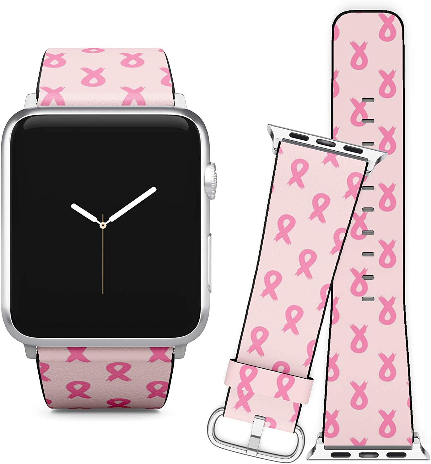 Compatible with Apple Watch (42/44 mm) Series 5, 4, 3, 2, 1 // Leather Replacement Bracelet Strap Wristband + Adapters // Breast Cancer Awareness Ribbon
