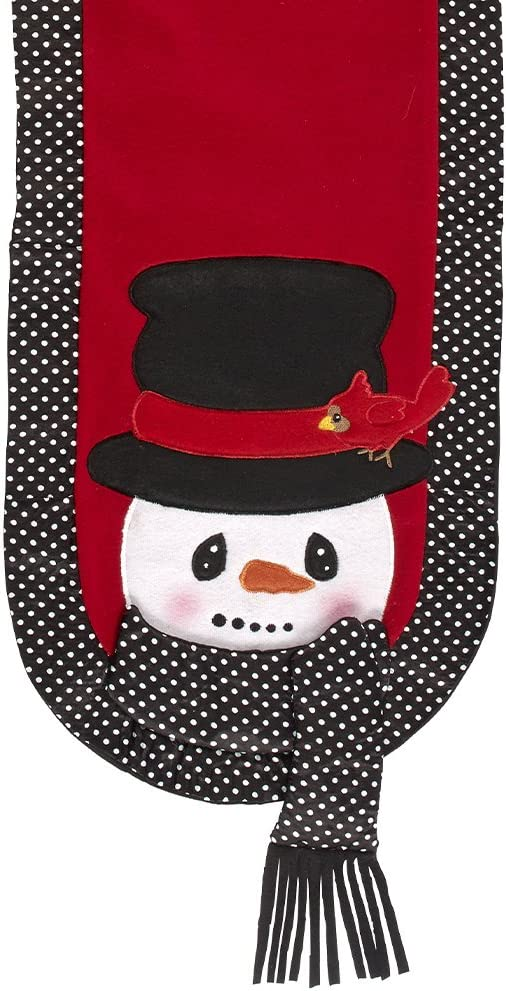 "Snow Much Fun by Precious Moments Snowman Holiday Décor 13"" x 108"" Red, Black, and White Table Runner, 171478"
