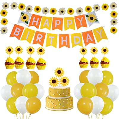 MoonVila Sunflower Birthday Party Decorations Supplies Kit, Sunflower Happy Birthday Banner, Yellow Sunflowers Cupcake Toppers, Artificial Silk Sunflowers, Latex Balloons: Toys & Games