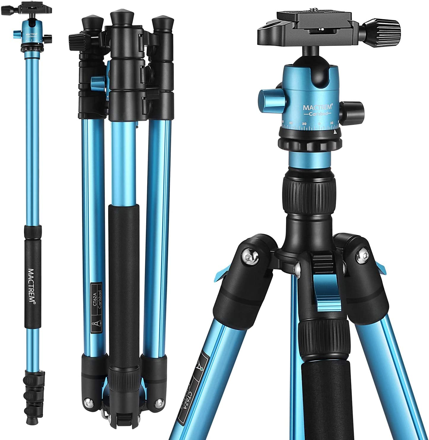 "MACTREM Professional Camera Tripod with Phone Mount, 62"" DSLR Tripod for Travel, Super Lightweight and Reliable Stability, Ball Head Tripod Detachable Monopod with Carry Bag (Blue)"