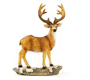 """JHVYF 6.5"""" Tall Mini Buck Resin Standing Deer Statue"""