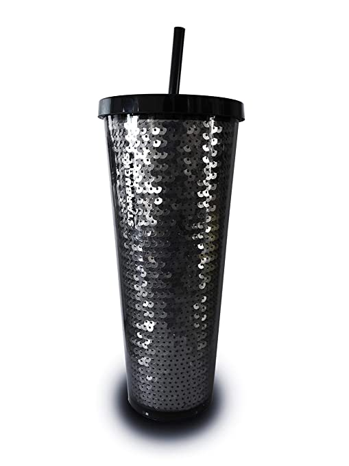 Starbucks 2018 Holiday Collection Black Sequins Acrylic Cold Cup Tumbler 24 Oz