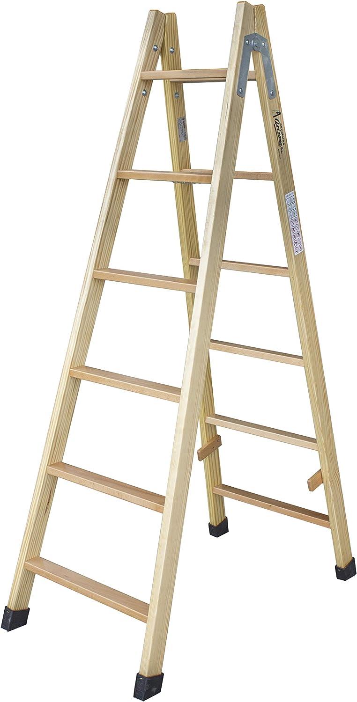 Escalera de tijera de madera con peldaño de haya de 54 mm. Fabricada según UNE-EN 131. (4 peldaños): Amazon.es: Bricolaje y herramientas