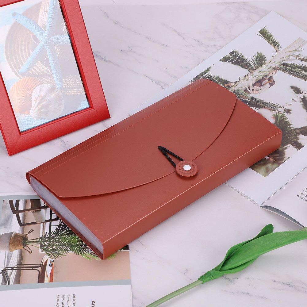 Cartellina Portadocumenti a Fisarmonica con Tasche per Documenti e Banconote con Cinghia Elastica per Coupon//Voucher//Carte 13 Tasche Burgandy IBLUELOVER