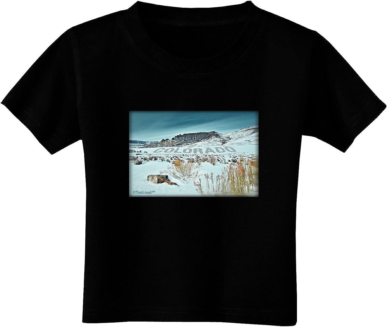 TOOLOUD CO Snow Scene Text Toddler T-Shirt Dark