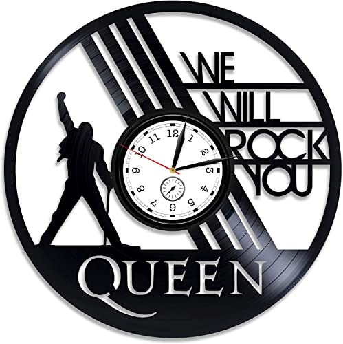 Kovides Queen Vinyl Wall Clock Freddie Mercury Clock 12 inch Clock Queen Vinyl Clock Freddie Mercury Wall Clock Vintage Queen Vinyl Record Wall Clock Queen Gift