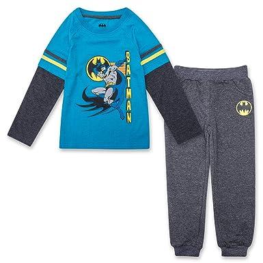 fdc38610 Toddler Boys Batman Jogger Set - DC Comics Batman Long Sleeve Shirt &  Sweatpants Set (